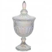 Potiche Decorativo de Cristal com Pé Brandon Rainbow 24,5cm 4488 Lyor