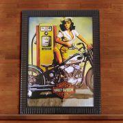 Quadro Decorativo Com Moldura Harley Davidson Vintage 30X40CM QD16