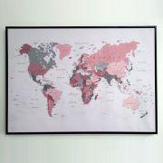 Quadro Em Canvas Decorativo Mapa Com Moldura 9561 105X75CM