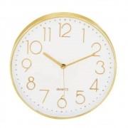 Relogio Parede Branco e Dourado Decorativo Redondo 30X4CM 09403 Mart