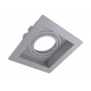 Spot Embutir AR111 Direcionável Quadrado Recuado Prata