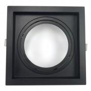 Spot Embutir AR111 Direcionável Quadrado Recuado Preto