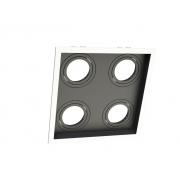 Spot Embutir Dicróica MR16 Quadruplo Recuado Direcionável Branco e Preto 19cm