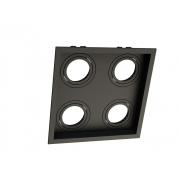 Spot Embutir Dicróica MR16 Quadruplo Recuado Direcionável Preto 19cm