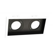 Spot Embutir Duplo AR70 Face Recuada Direcionável Branco/Preto 24cm