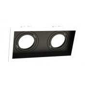 Spot Embutir Duplo Dicróica MR16 Face Recuada Direcionável Branco/Preto 19cm