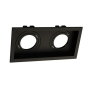 Spot Embutir Duplo Dicróica MR16 Face Recuada Direcionável Preto 19cm