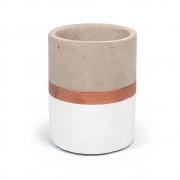 Vaso Cachepot Branco e Cobre em Cimento 12,5x10cm 7693 Mart