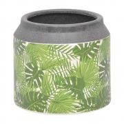 Vaso Cachepot de Cerâmica Folhas Verde 16cm CN0021 BTC