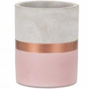 Vaso Cachepot Rosa e Cobre em Cimento 9x8cm 7701 Mart