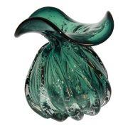 Vaso De Vidro Murano Verde Trouxinha 15,5cm x 14cm OD0014