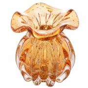 Vaso de Vidro Trouxinha Italy Âmbar com Detalhes Dourado 11cm 4378 Lyor