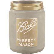 Vaso Decorativo Cimento Cinza/Dourado 19,5X16CM 6971 Mart