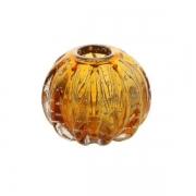 Vaso Decorativo de Vidro Esfera Italy Âmbar com Detalhes Dourado 12cm 4373 Lyor
