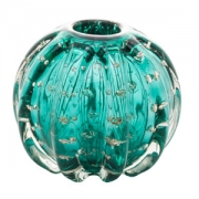Vaso Decorativo de Vidro Esfera Italy Tiffany com Detalhes Dourado 12cm 4375 Lyor