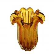 Vaso Decorativo de Vidro Flat Italy Âmbar 26cm 4450 Lyor