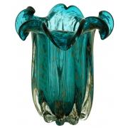 Vaso Decorativo de Vidro Flat Italy Azul com Detalhes Rose 22cm 4451 Lyor
