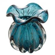 Vaso Decorativo de Vidro Trouxinha Italy Azul com Detalhes Rose 13cm 4442 Lyor