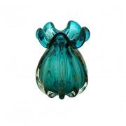 Vaso Decorativo de Vidro Trouxinha Italy Azul com Detalhes Rose 17cm 4445 Lyor