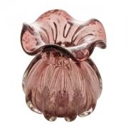 Vaso Decorativo de Vidro Trouxinha Italy Púrpura com Detalhes Rose 13cm 4443 Lyor