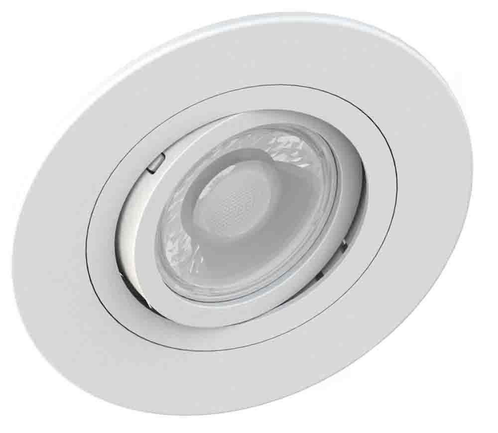20x Spot Embutido Redondo Direcionável Face Plana Dicroica MR16 GU10 Branco Save Energy