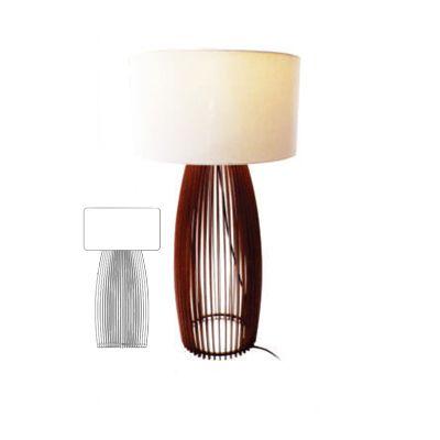 Luminaria De Mesa Abajur Barrel Wood 45X85CM G 1E27