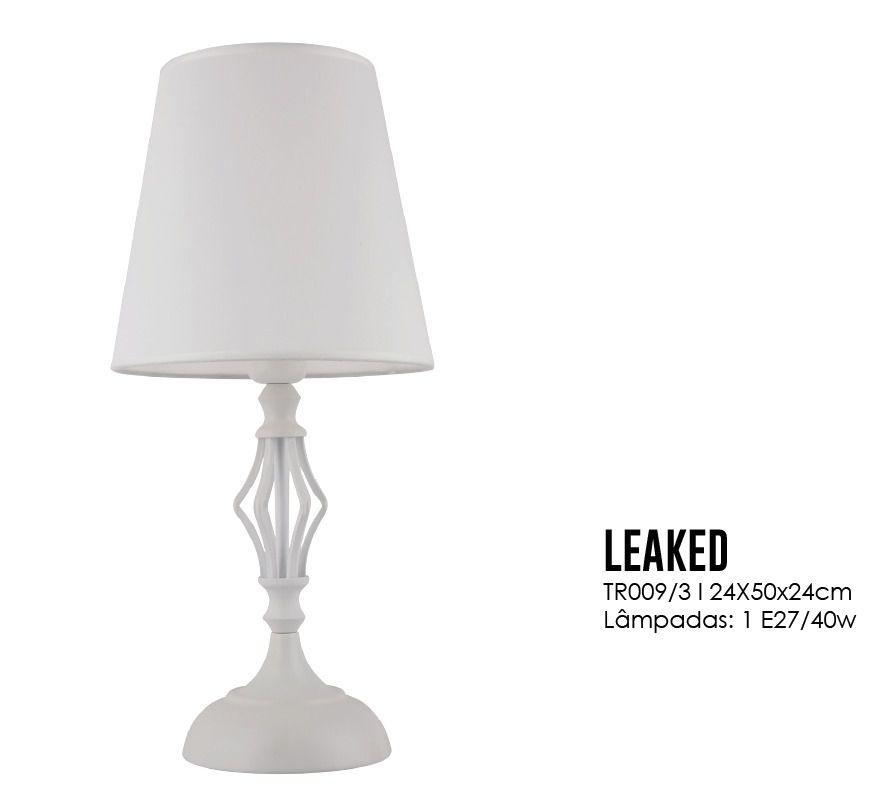 Abajur Leaked Branco 50CM 1E27 Luciin