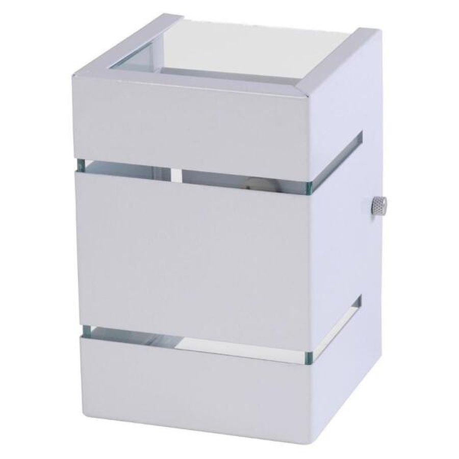 Arandela Box 2 Focos C/ Frisos e Facho Branca 1G9 10x15cm Externa