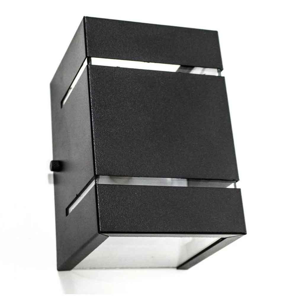Arandela Box 2 Focos C/ Frisos e Facho Preta 1G9 10x15cm Externa