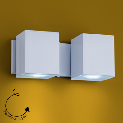 Arandela Cube 2 Gu10 Direcionavel Aço/Termoplastico Branco 21x9cm