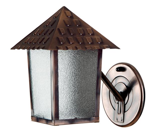 Arandela De Parede Quadrada Cobre Vidro Pontilhado Colonial
