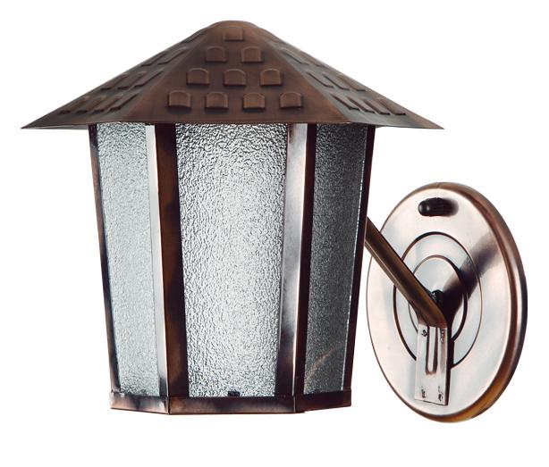 Arandela De Parede Sextavado Cobre Vidro Pontilhado Colonial 100800-05