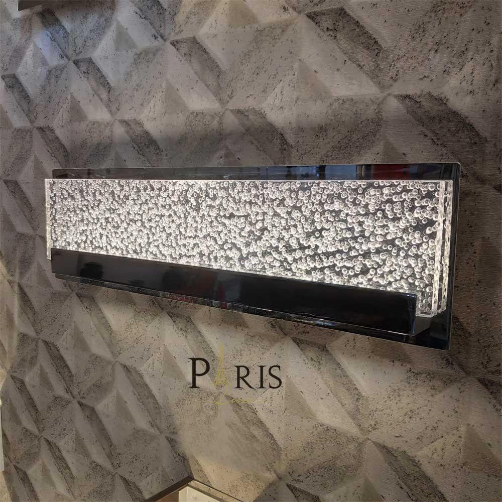 Arandela Retangular Inox Cristal Led 18W 3000K 50X14CM Bivolt