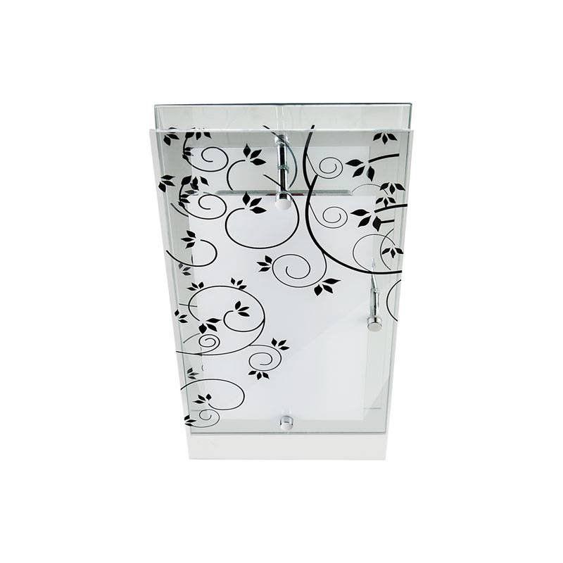 Arandela Retangular Vidro Branco Jateado Flores 35CM 1E27