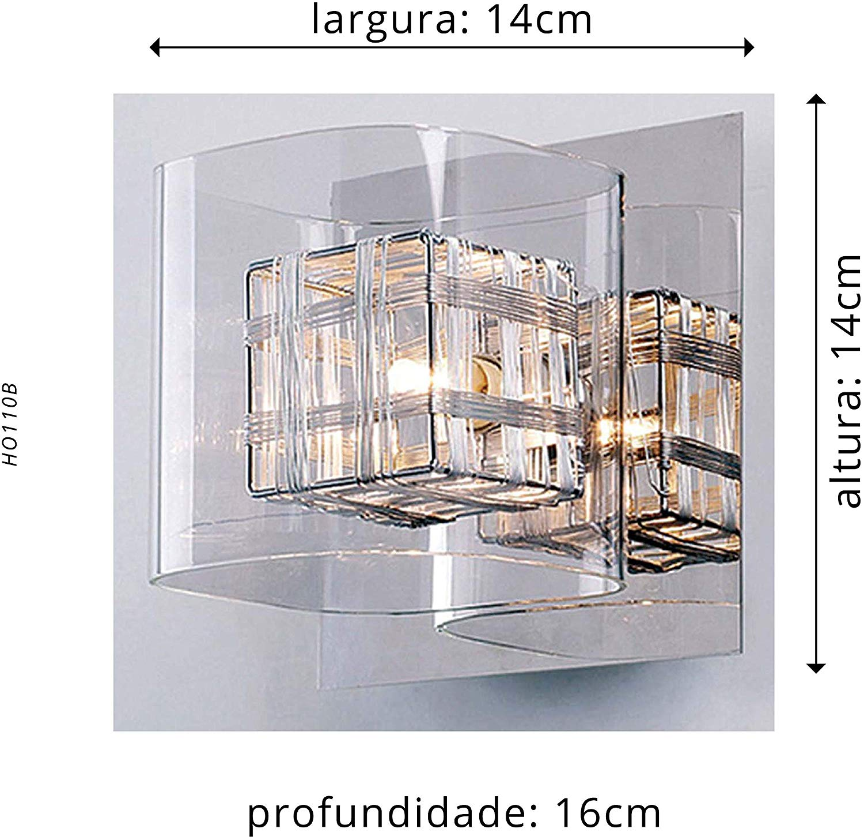 Arandela Vidro Bolero HO110B Quadrado 1G9 BELLA