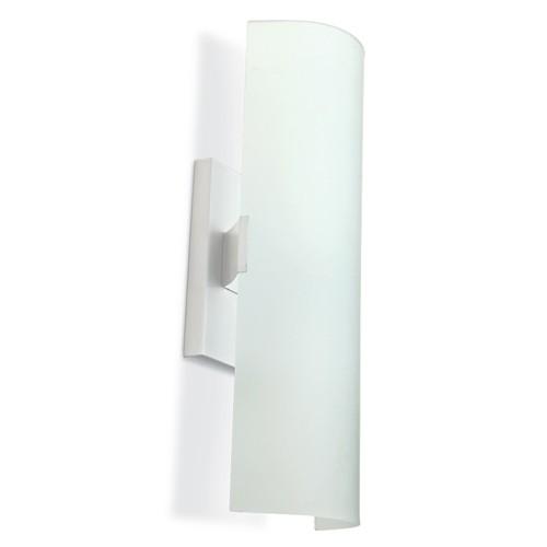 Arandela Vidro Curvo Branco 20CM Blumenau