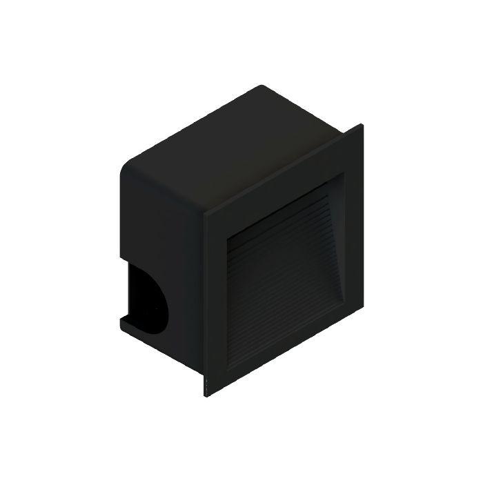 Balizador Embutir Preto LED Quadrado 8CM 1,5W 3000K Externo/Escada Save Energy