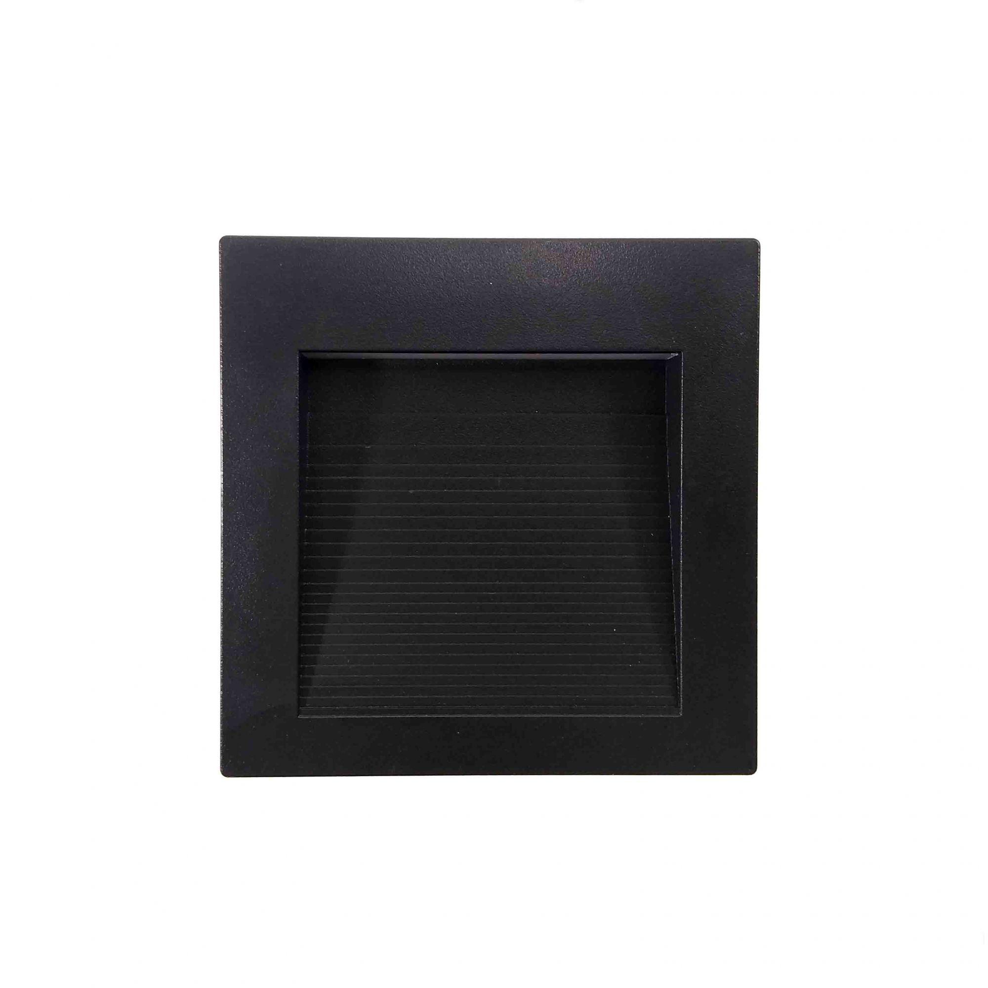 Balizador Sobrepor Preto LED Quadrado 7,5CM 1,5W 3000K Externo/Escada Save Energy