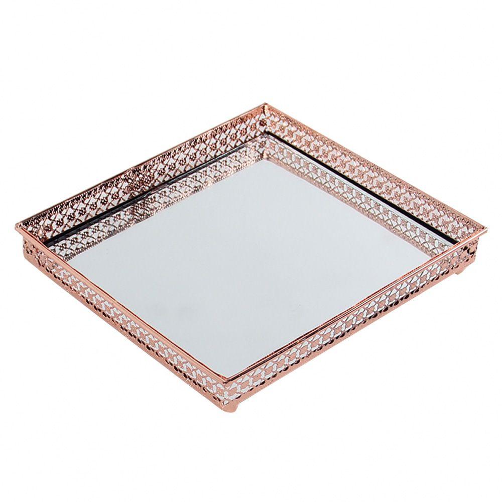 Bandeja Quadrada Espelhada Decorativa Luxo Metal Cobre 17x17cm Kv0134