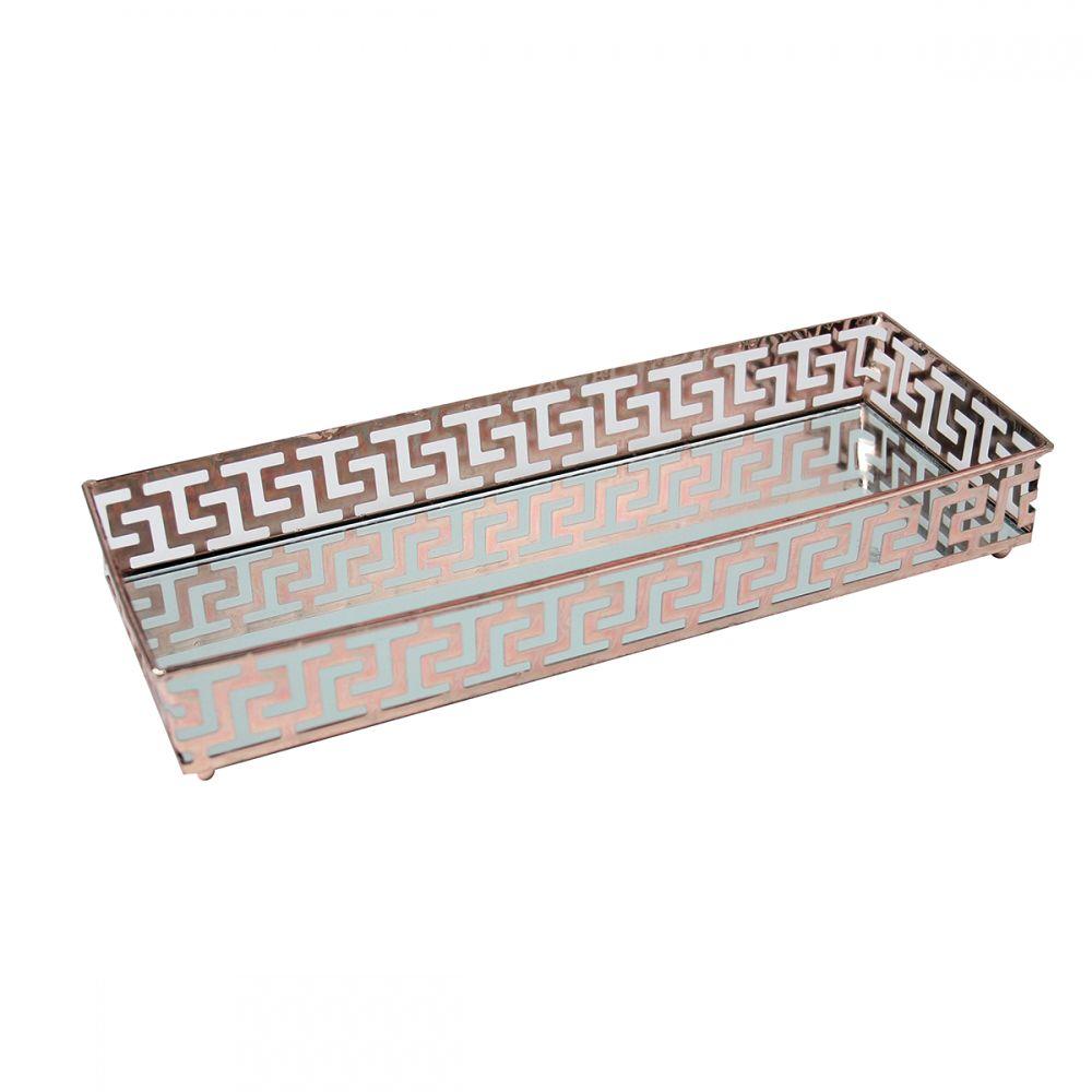 Bandeja Retangular Espelhada Decorativa Luxo Cobre 34x21cm Kv0105