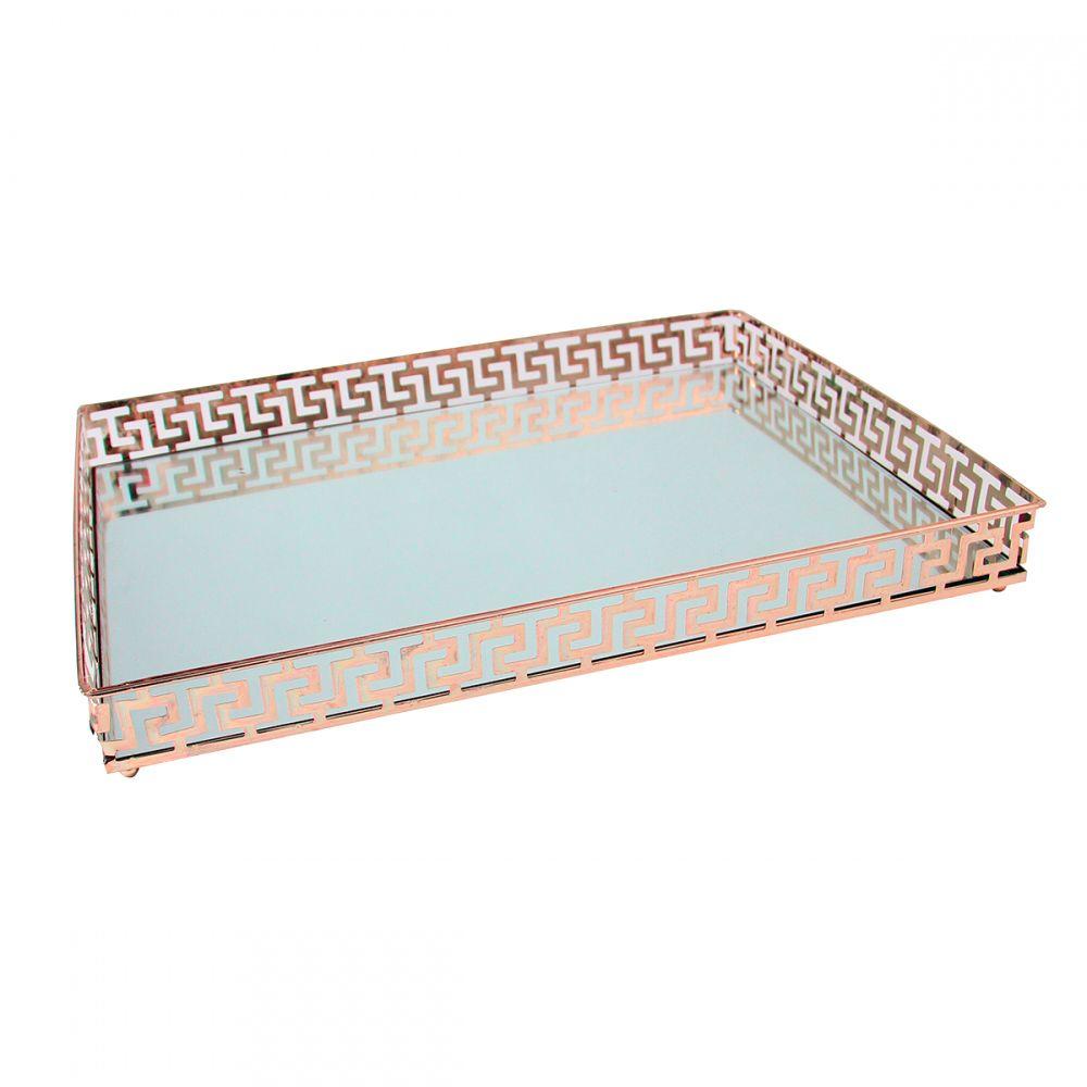 Bandeja Espelhada Decorativa Luxo Metal Cobre 40x30cm Kv0107