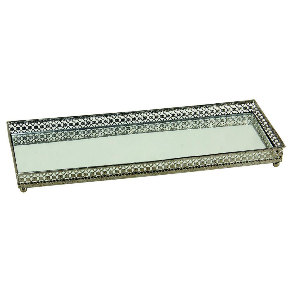 Bandeja Retangular Espelhada Decorativa Luxo Cromado 30x11,5cm Kv0079