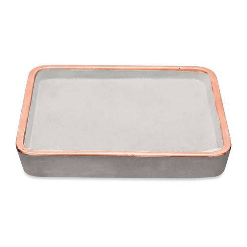 Bandeja Quadrada Cimento E Cobre Decorativa 15x2CM 08580 Mart Collection