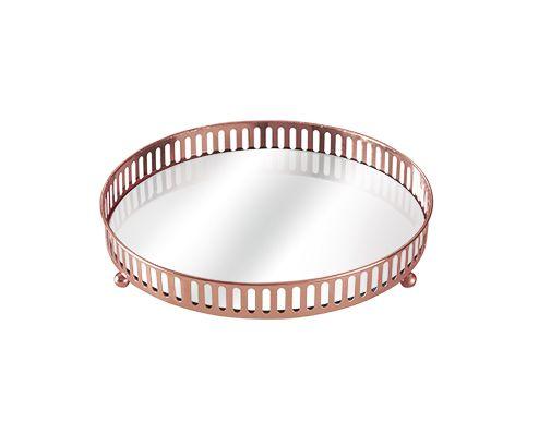 Bandeja Redonda Cobre Decorativa Espelhada 17,5X4,5CM 7180