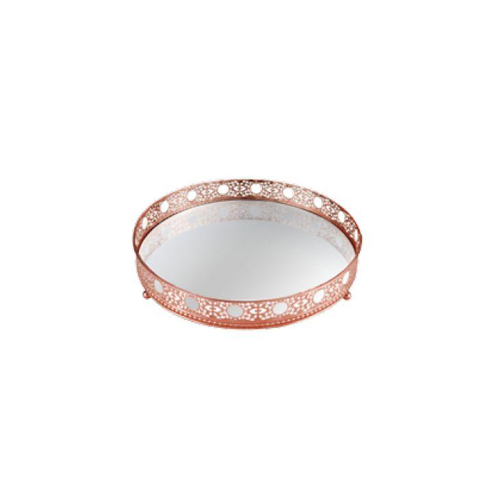 Bandeja Redonda Decorativa Espelhada Cobre 17X4,5CM 8134