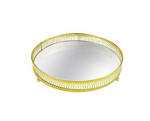 Bandeja Redonda Decorativa Espelhada Dourada 17,5X4,5CM 7178