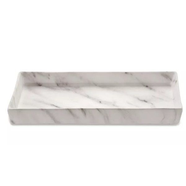 Bandeja Retangular Cerâmica Marmore Decorativa 30x14CM 08714