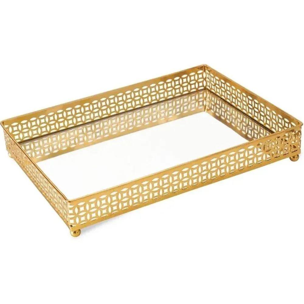 Bandeja Retangular Decorativa Espelhada Dourada 27x19CM 09617 Mart