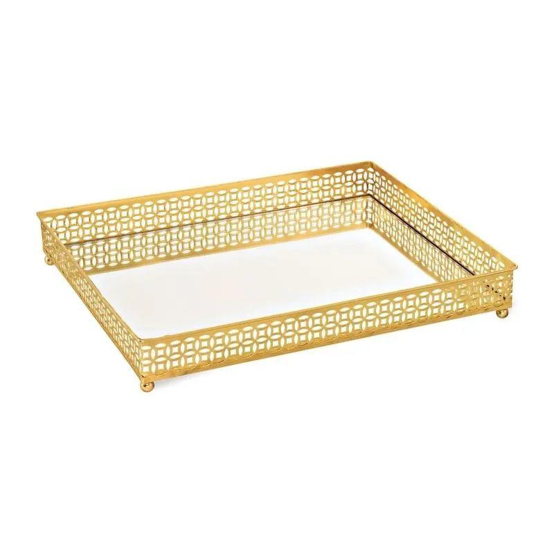 Bandeja Retangular Decorativa Espelhada Dourada 31x24,5CM 09618 Mart