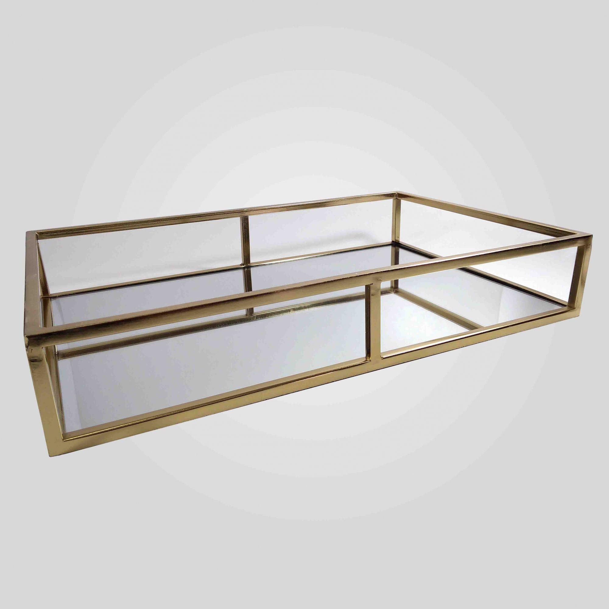 Bandeja Retangular Decorativa Espelhada Dourada 9629 40x26CM Mart Colleccion